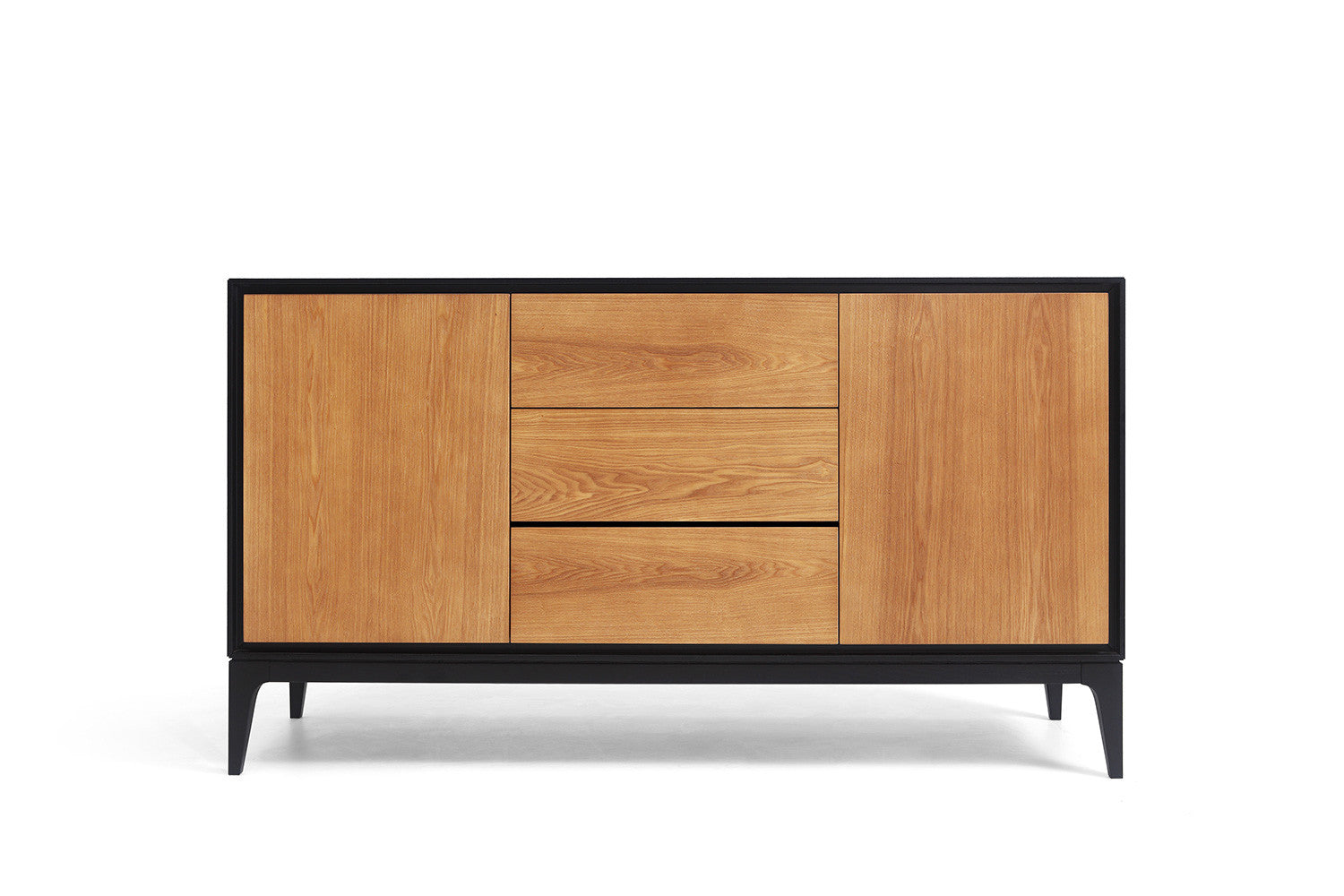 Buffet design scandinave noir et bois leone dewarens for Buffet noir