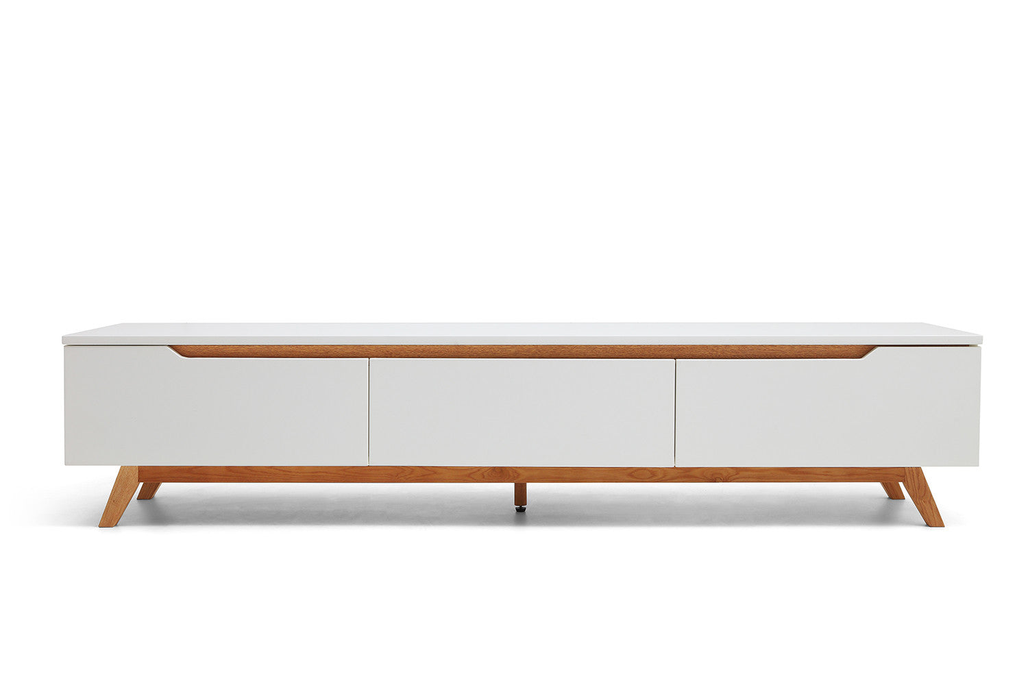Console tv design scandinave cima dewarens for Meuble tele bois et blanc
