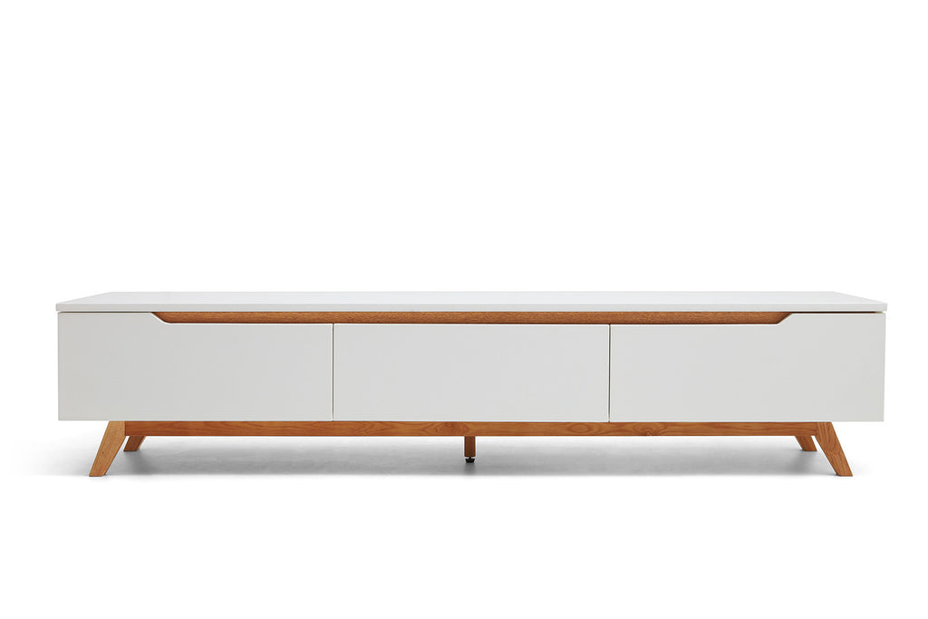 Console tv design scandinave cima dewarens for Meuble tv bois et blanc