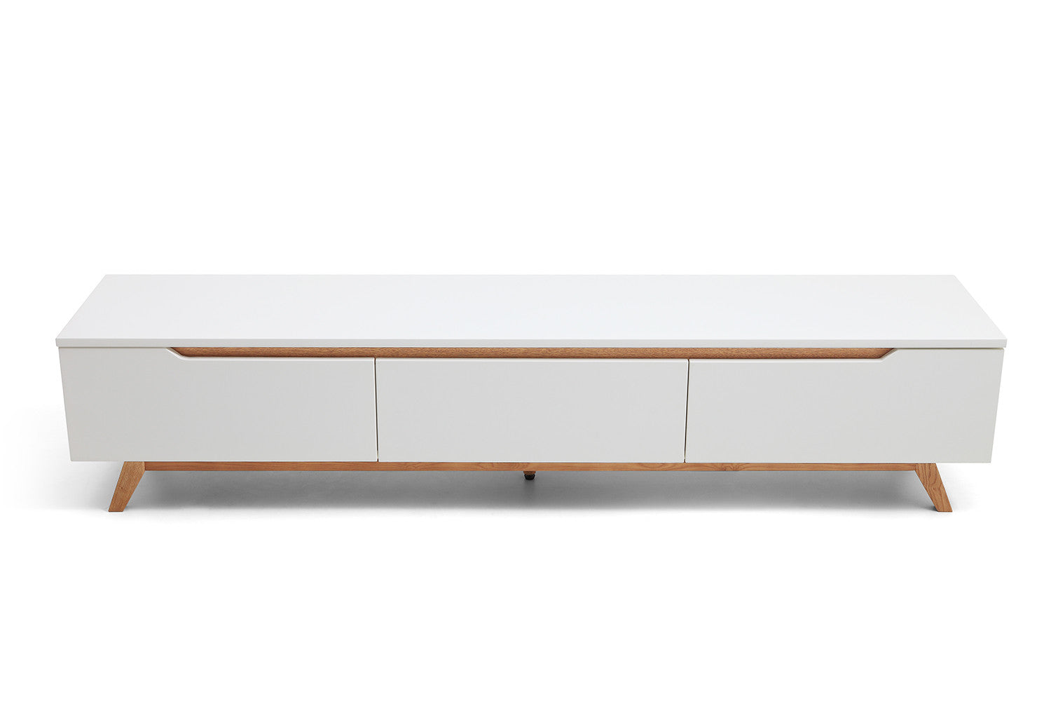 Console tv design scandinave cima dewarens for Meuble tv long blanc