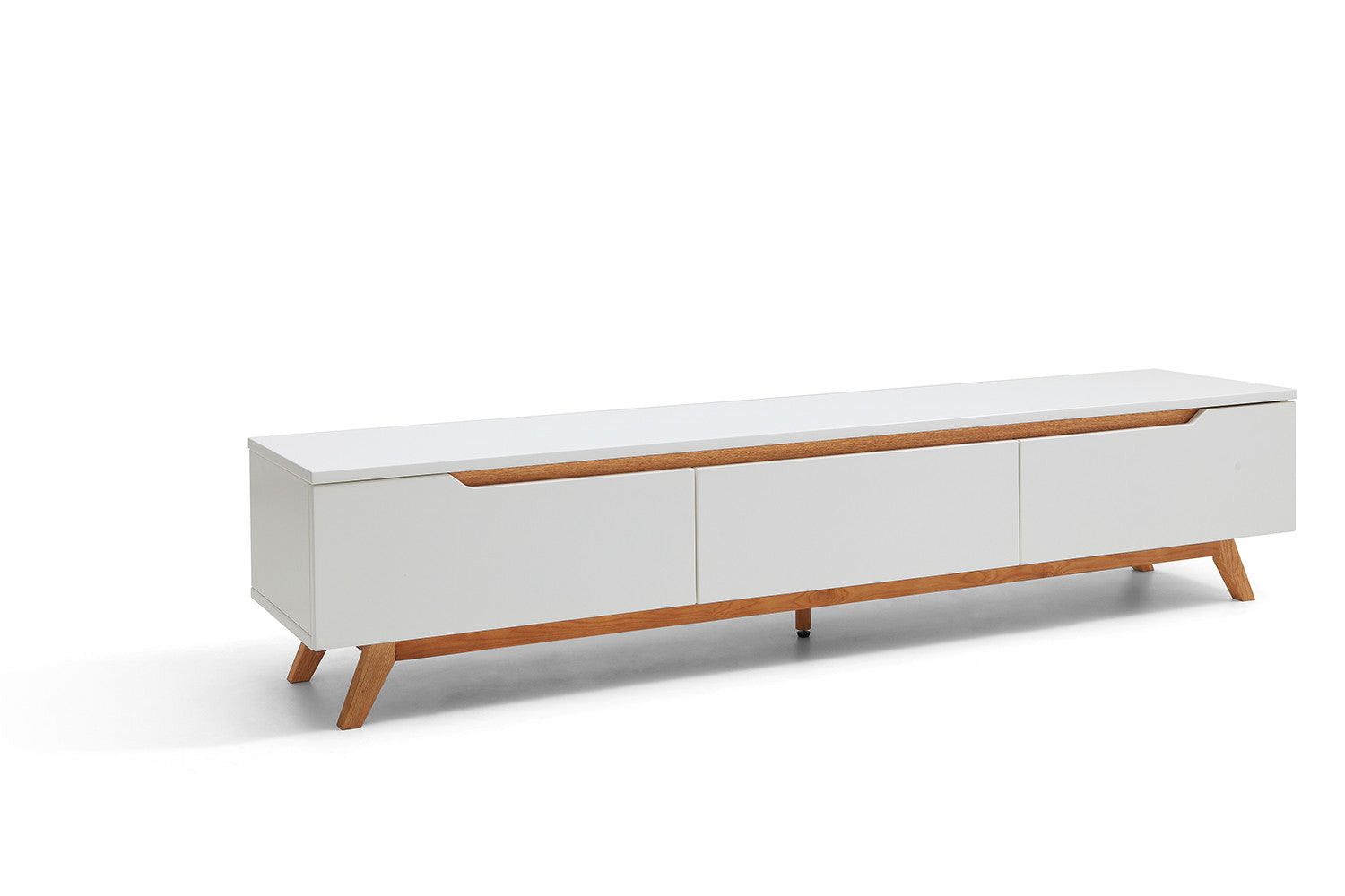Console tv design scandinave cima dewarens for Meuble tv blanc bois