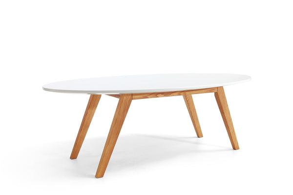Table basse design en bois blanche b le dewarens - Grande table basse blanche ...
