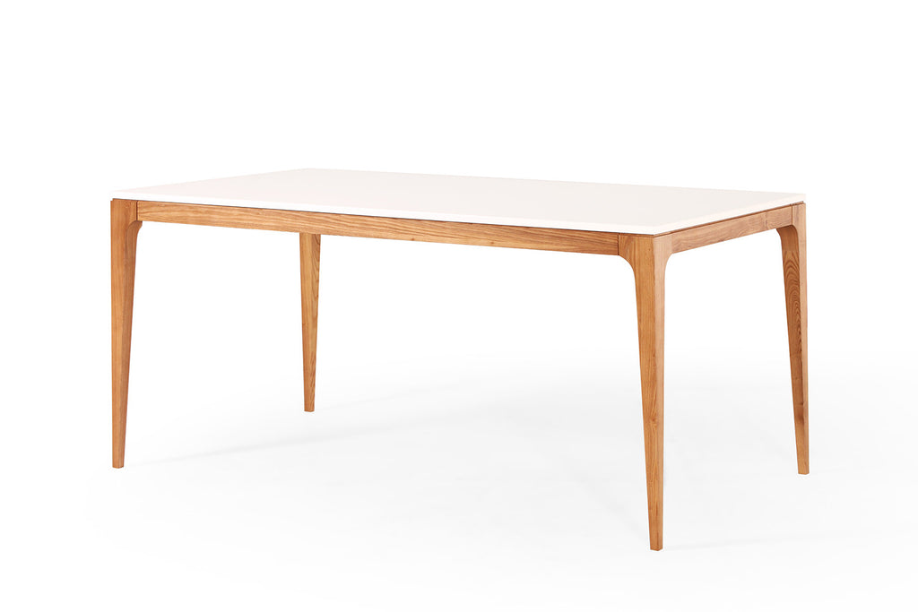 Table de repas design scandinave blanche et bois maggia for Table scandinave bois