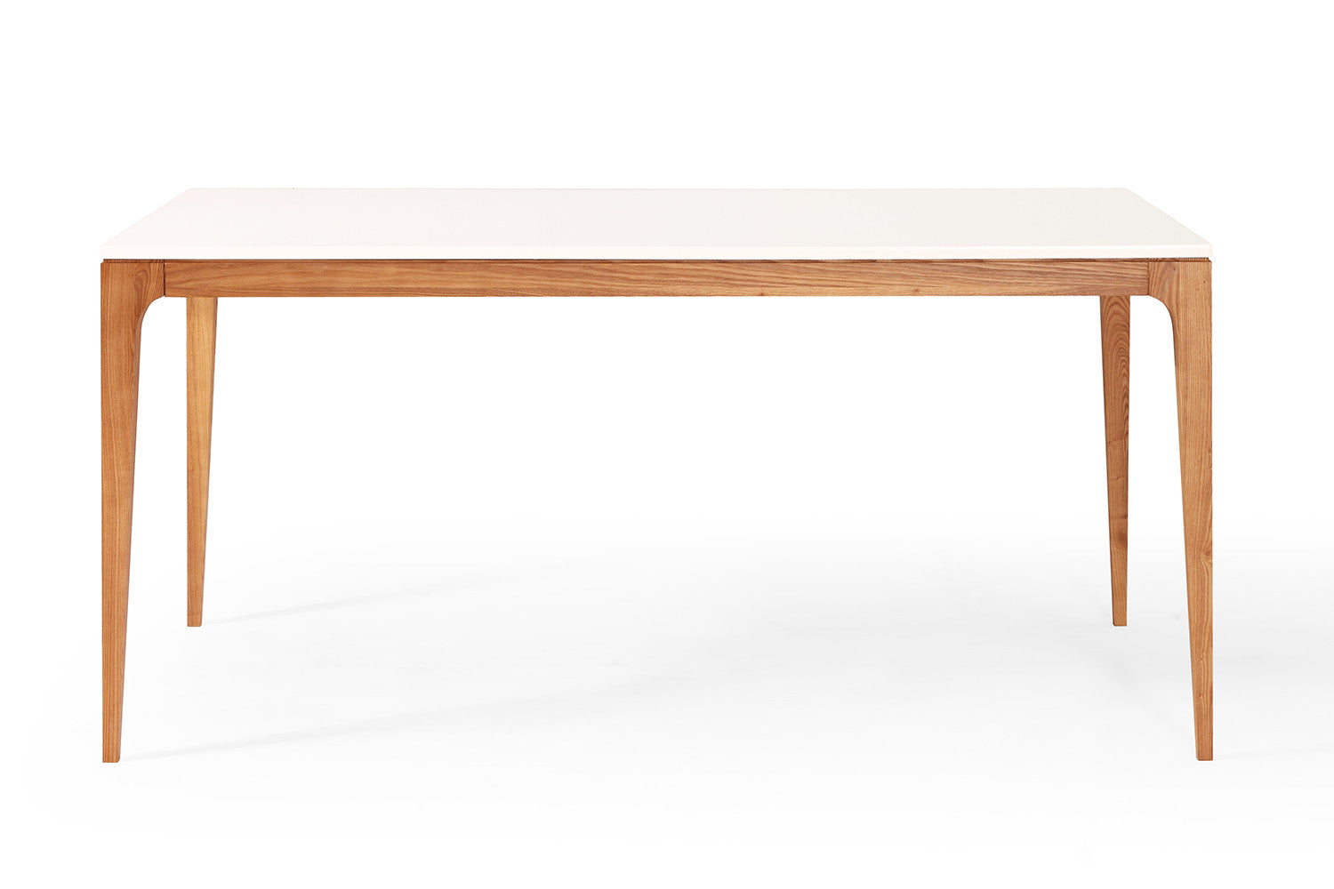 Table de repas design scandinave blanche et bois maggia for Table carree style scandinave