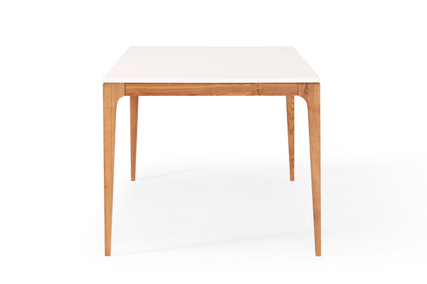 Table de repas design scandinave blanche et bois maggia for Table salle a manger grande dimension
