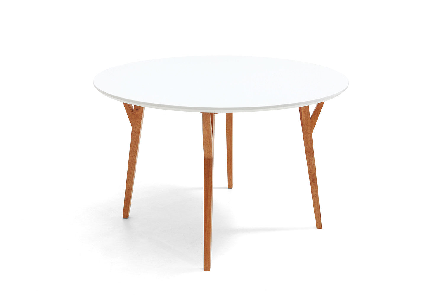 Table de salle manger ronde design scandinave moesa for Table a manger blanche avec rallonge