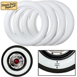 14 inch Wide White wall Tire insert Port-a-wall Trim set. - Classic Parts Depot
