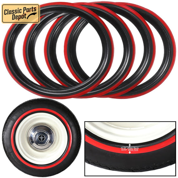 Black Red Wall Tire Trims Mickey Insert trim Fit For Citroen - Classic Parts Depot
