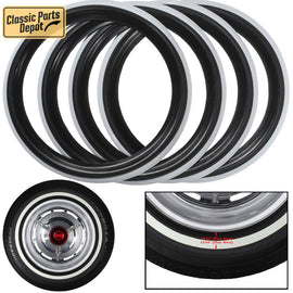 Black White band tire line Port-a-wall trim ring insert Fit For Fiat - Classic Parts Depot