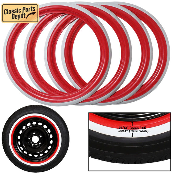 Red White band wall tire Portawall Trim Set of 4 Fit For Porsche - Classic Parts Depot