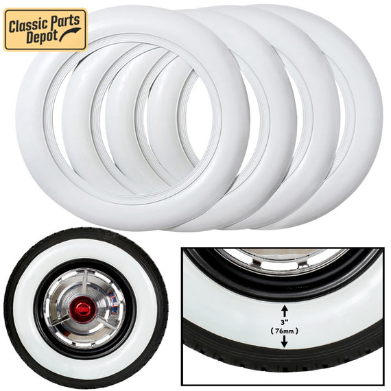 15 inch Wide White wall Tire insert Port-a-wall Trim set - Classic Parts Depot