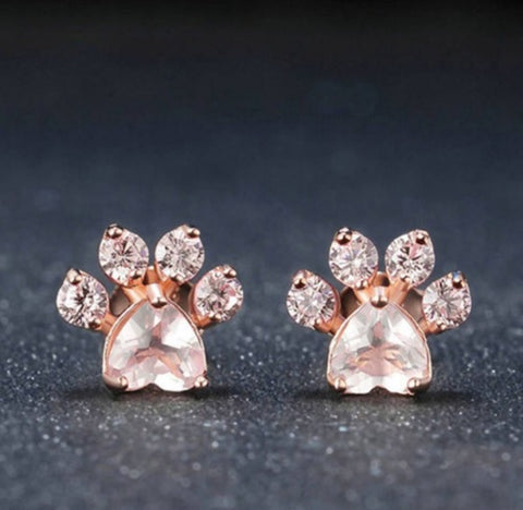 Earrings - Crystal cat paw earrings