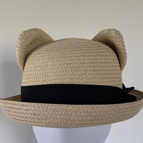 Hat with Cat Ears - Straw
