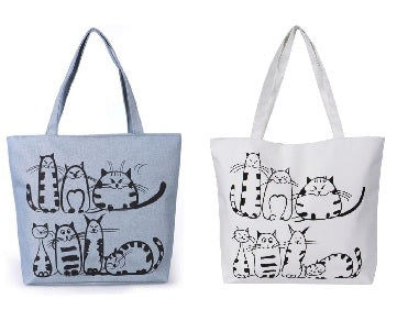 Bags / Purse - Grey or Cream Cartoon Cat Tote