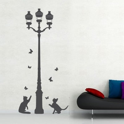 Decal Cats with Lamp Post