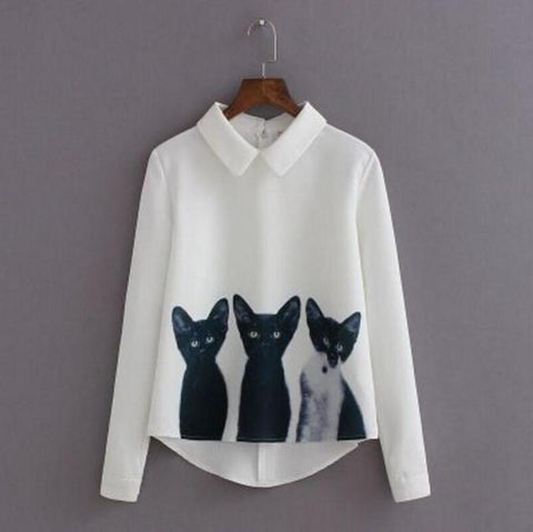 Long sleeve blouse with cat print - girls sizing