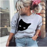 Grey L/S T with black cat