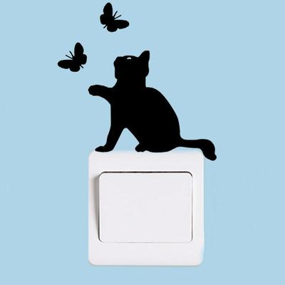 Decal Cat Chasing Butterflies
