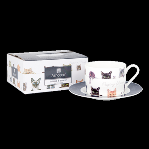 Ashdene Peeping Felines Fine Bone China Tea Cup & Saucer