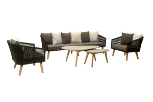 Apollo 5pc rope outdoor lounge 3.5 seater + 2x single + coffee table + side table