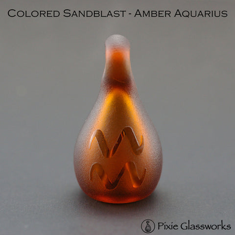 Aromatherapy Pendants, Colored Sandblast - Aquarius