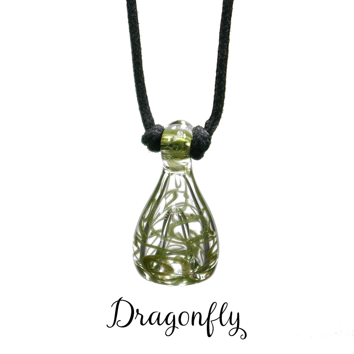 aromatherapy pendant abstract dragonfly green sparkle clear
