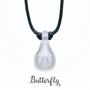 Aromatherapy Jewelry, Clear Frosted with Design - Butterfly