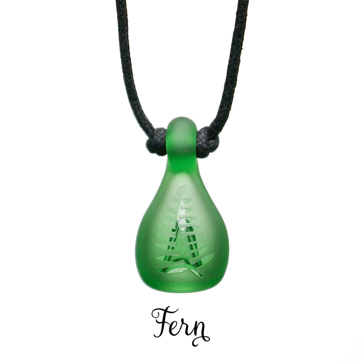 Aromatherapy Jewelry, Colored Frosted with Design - Fern