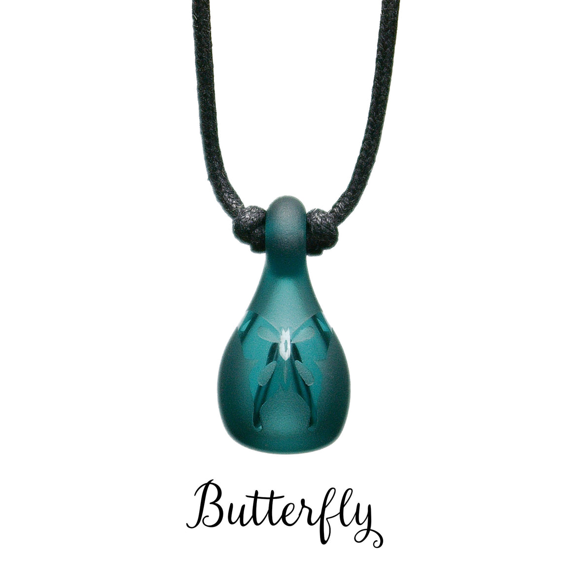 Aromatherapy Jewelry, Colored Frosted with Design - Butterfly