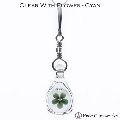 Aromatherapy Zipper Pull - Clear with Flower