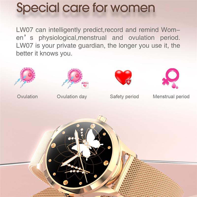 BOZLUN LW07 Health Monitor Fashion SmartWatch Message Whatsapp Reminder Smartwatch Lady Gift
