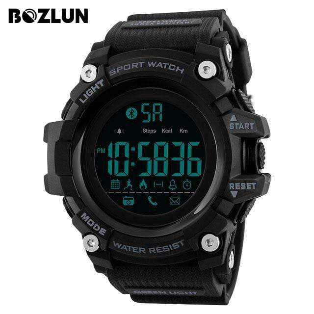 Bozlunofficial Black BOZLUN 1385 Pedometer Waterproof  Digital  SmartWatch