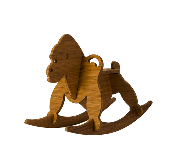 amber bamboo rocking gorilla - wee rock toy co