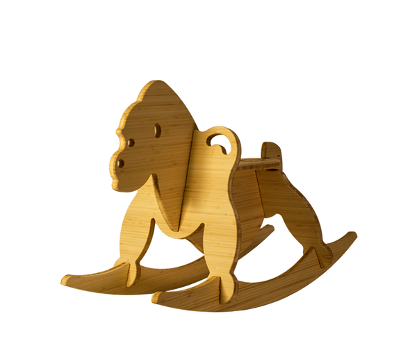 natural bamboo rocking gorilla - wee rock toy co