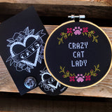 CRAZY CAT LADY Cross Stitch - animal protection donation