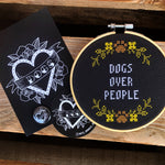 DOGS OVER PEOPLE Cross Stitch - animal protection donation