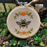 FLORAL BEE Cross Stitch - nature conservation donation