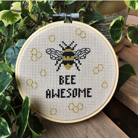 BEE AWESOME Cross Stitch - nature conservation donation