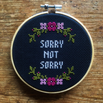SORRY NOT SORRY Cross Stitch - magenta & pink - animal protection donation