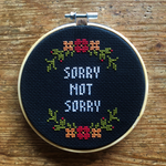 SORRY NOT SORRY Cross Stitch - red & orange - animal protection donation