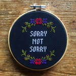 SORRY NOT SORRY Cross Stitch - red & purple - animal protection donation