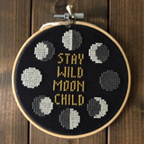 STAY WILD MOON CHILD Cross Stitch - animal protection donation