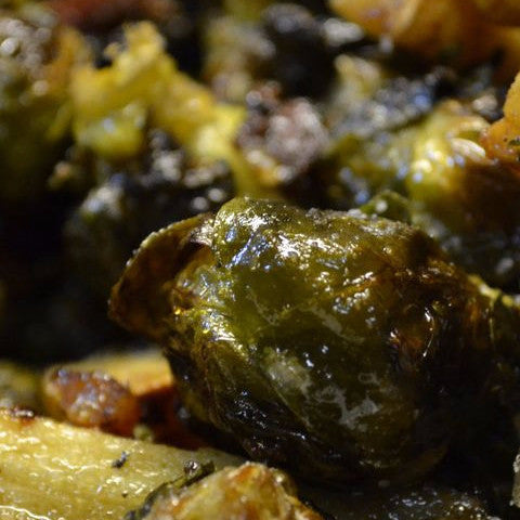 Roasted Brussel Sprouts & Parsnips with Brown Butter