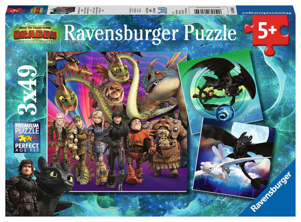 Puzzle Ravensburger - Dragons 3x49