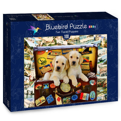 Puzzle Bluebird Puzzle - Two Travel Puppies. 100 piezas