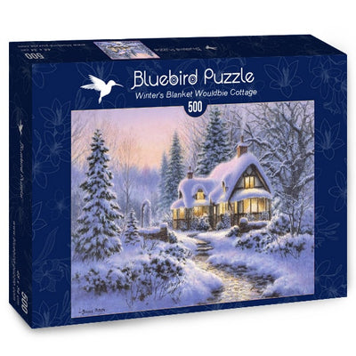 Puzzle Bluebird Puzzle - Winter's Blanket Wouldbie Cottage. 500 piezas
