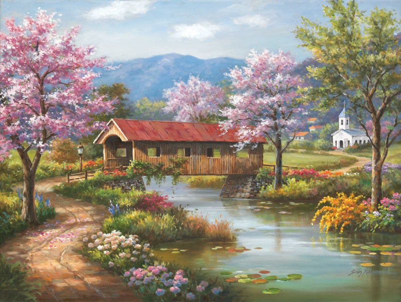 Puzzle SunsOut - Covered Bridge in Spring. 300 piezas XXL-SunsOut-Doctor Panush