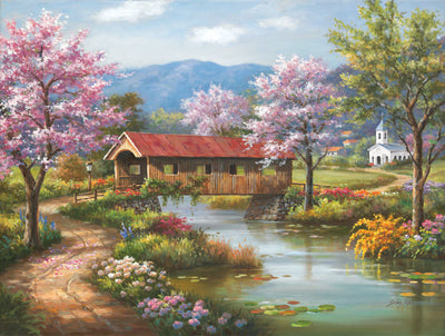 Puzzle SunsOut - Covered Bridge in Spring. 300 piezas XXL
