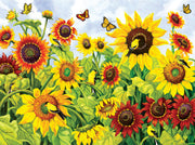 Puzzle SunsOut -  Sunflowers and Goldfinch. 300 piezas XXL