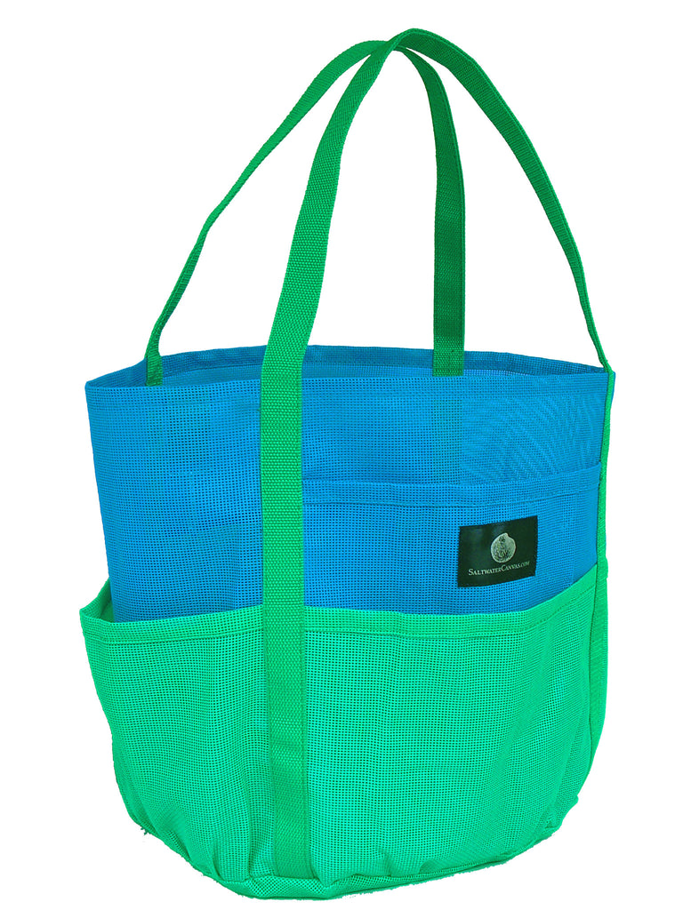 Dolphin Mesh Beach Bag * Bright Green & Bright Blue * Imported